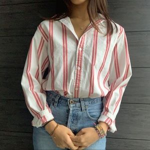 brandy melville red striped button up